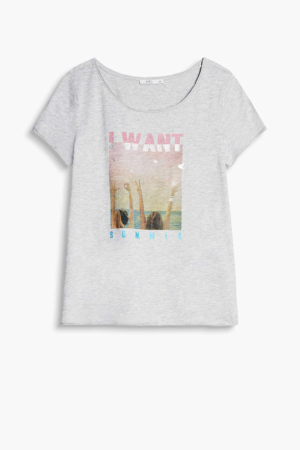 Melange, cotton-jersey T-shirt with a partially shimmering photo print