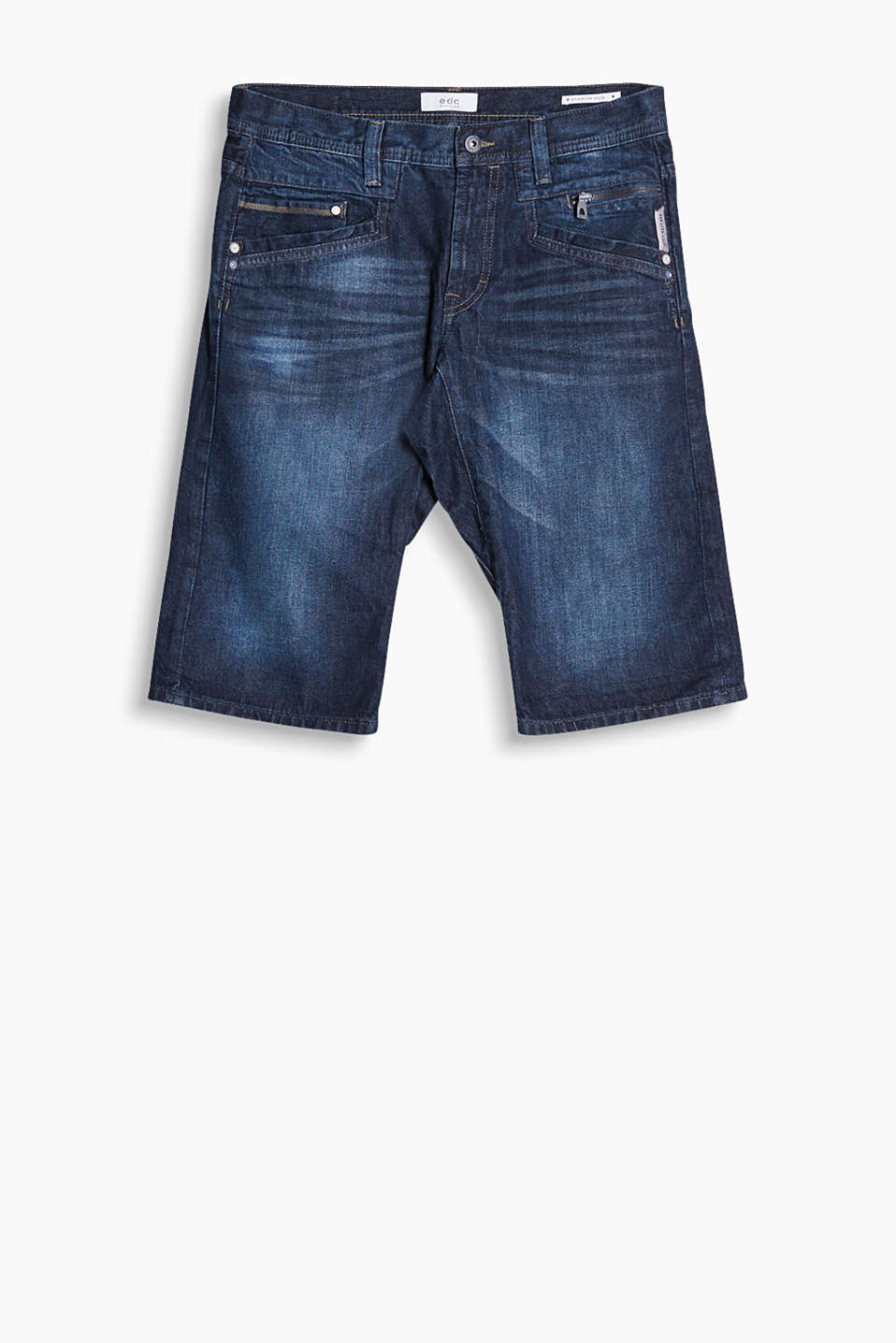 Denim shorts in a five-pocket style with urban garment-washed effects