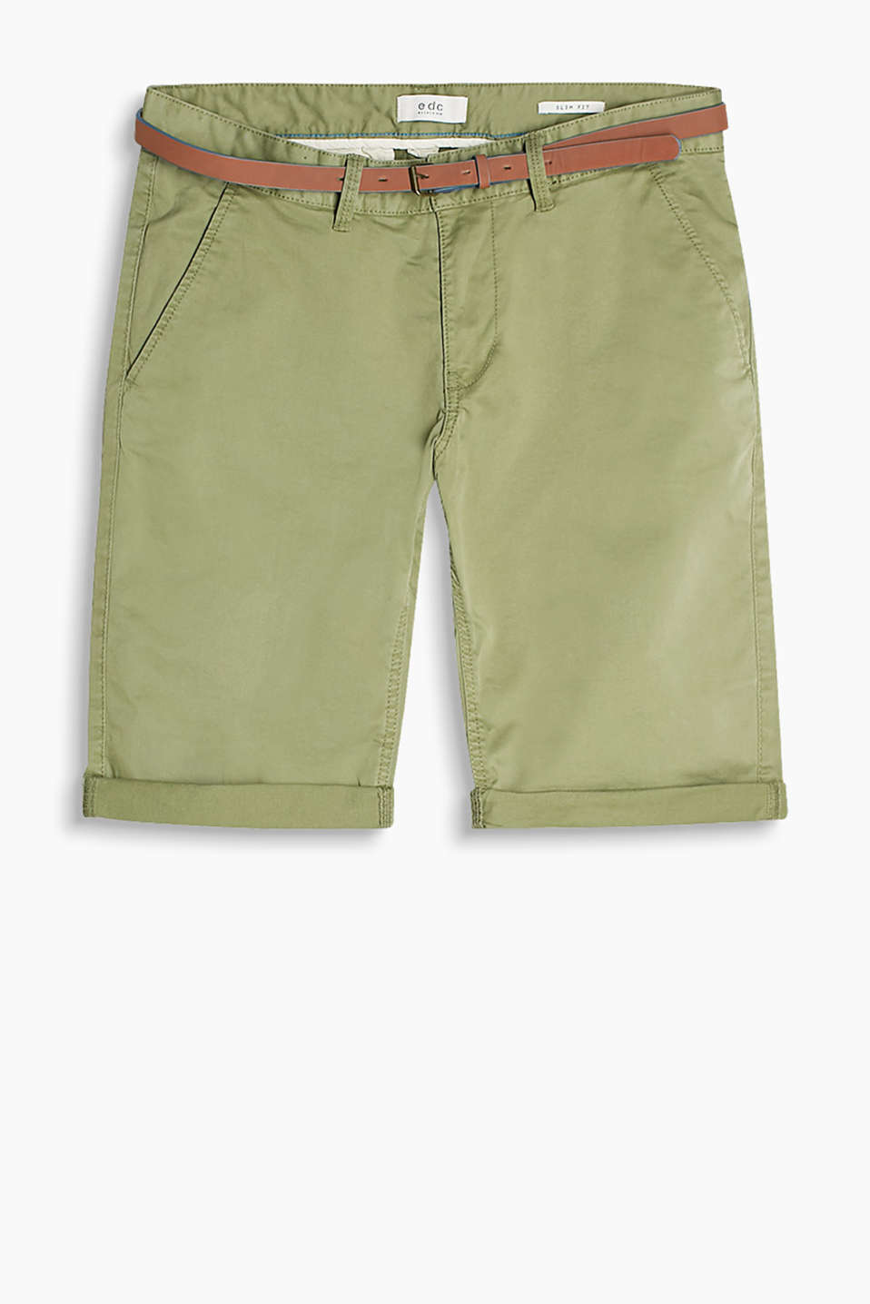 Chino bermudas in cotton twill with added elastane with a narrow faux leather belt