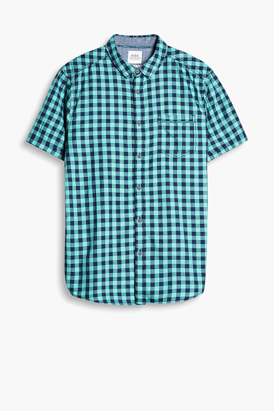 Pure cotton shirt with a narrow collar, a breast pocket and short sleeves