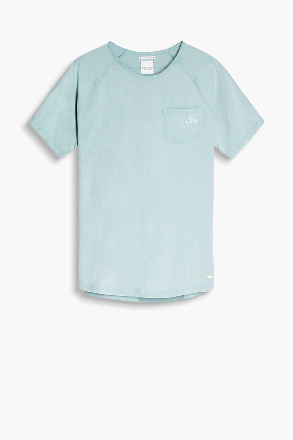 Super soft cotton T-shirt with casual rolled edges, raglan sleeves and a patch breast pocket
