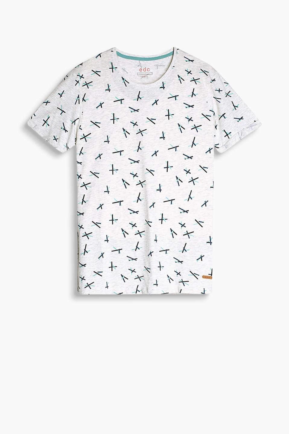 T-shirt in a soft cotton-rich fabric blend with an all-over geometric print
