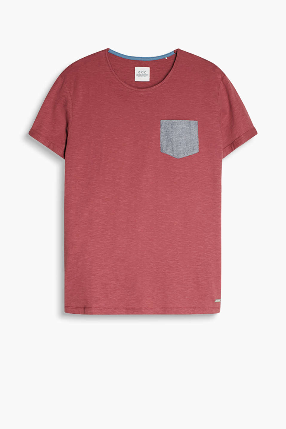 Made of 100% cotton: T-shirt with breast pocket