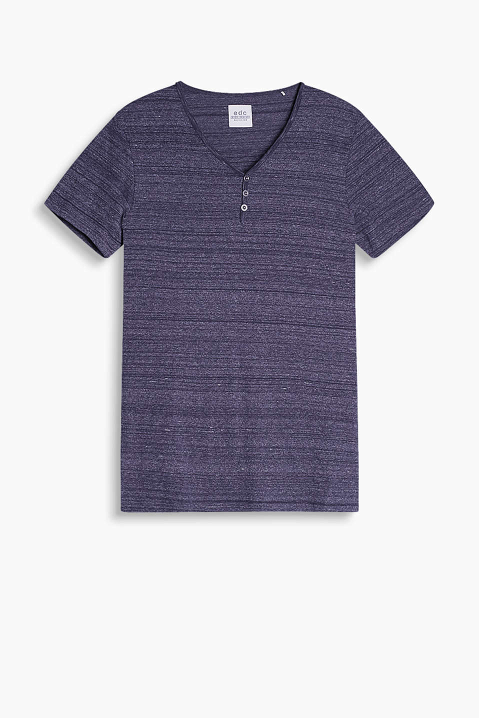 Henley-style T-shirt made of soft blended cotton