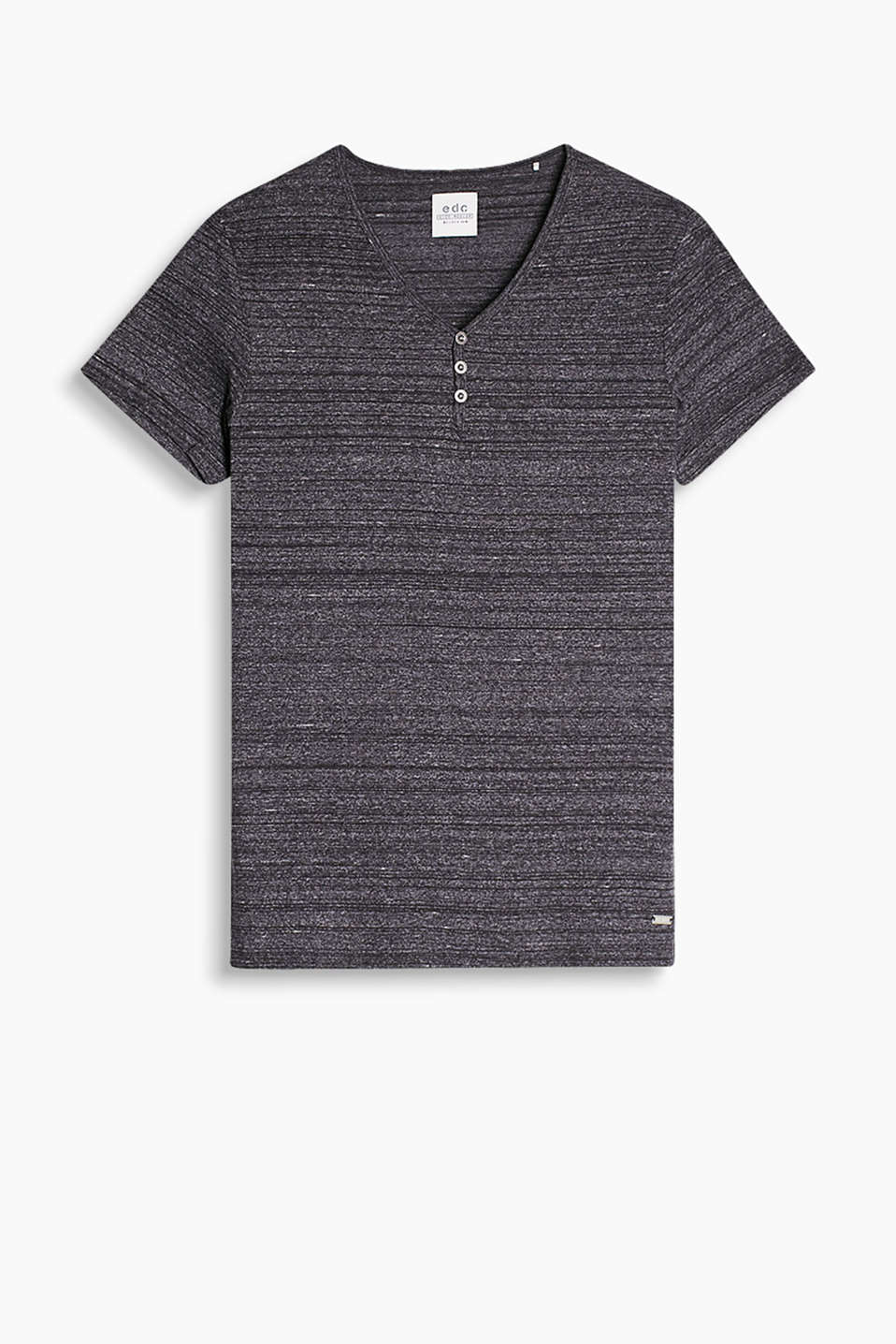 Made of soft blended cotton: Henley-style T-shirt