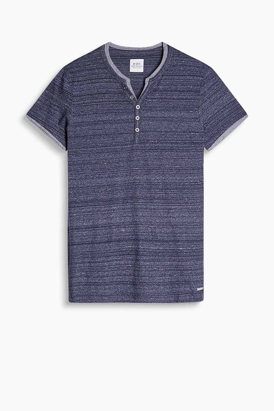 Henley-style T-shirt in soft blended cotton with a layered effect