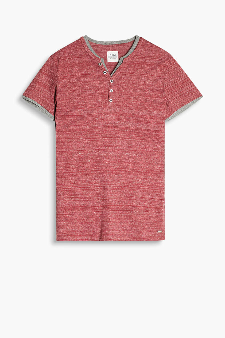 Henley-style T-shirt in blended cotton with a layered effect