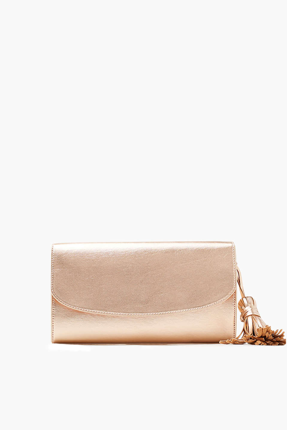 Con vistosa nappa decorativa: clutch in similpelle liscia e lucida