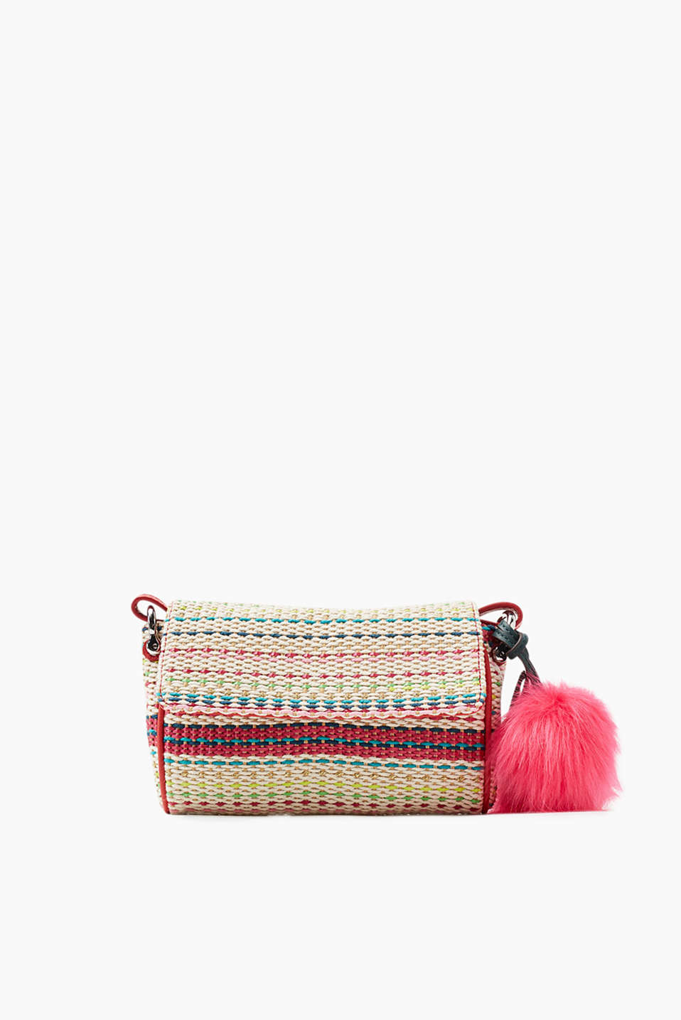 Handbag in a colourful braided look with a vibrant faux fur charm