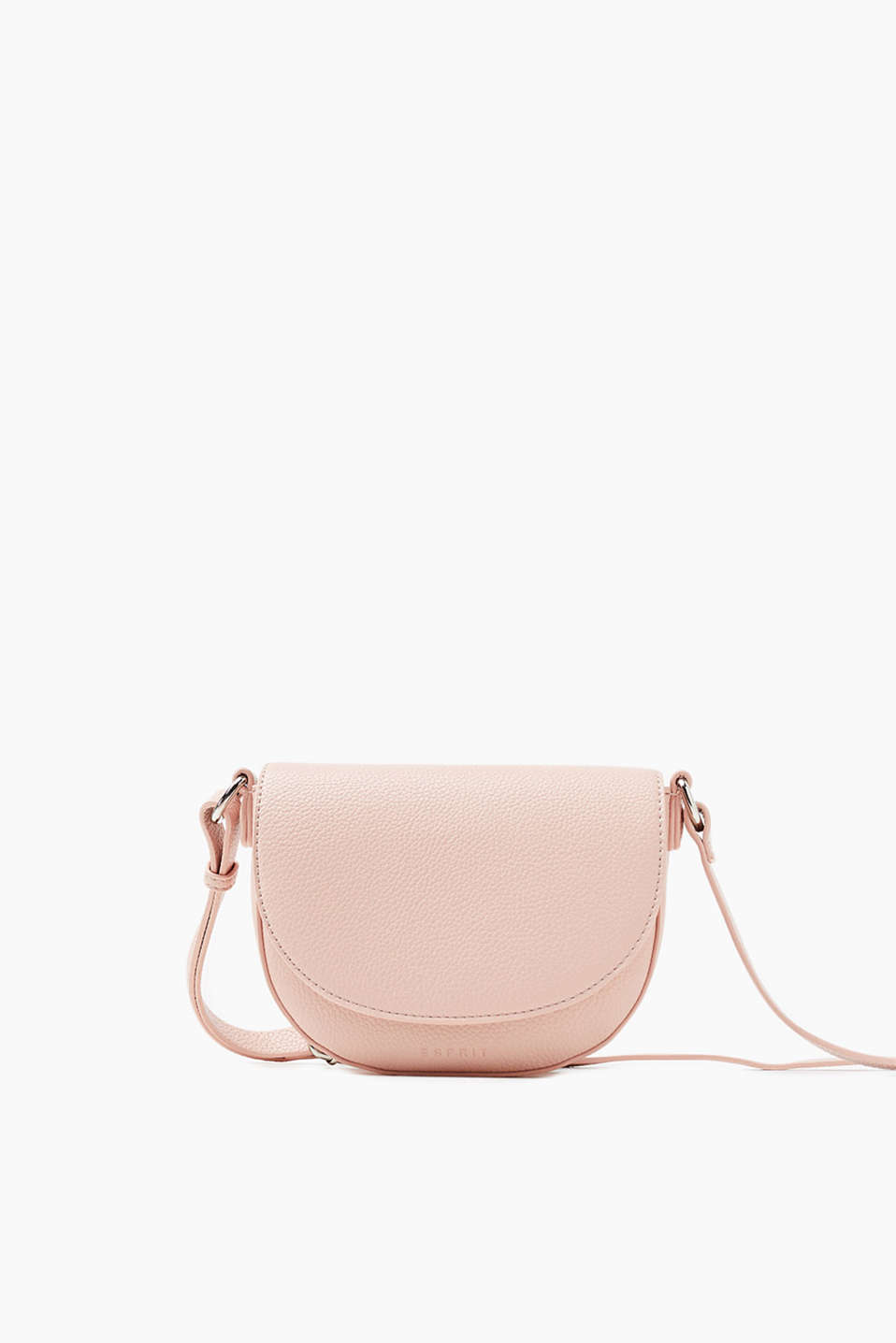 Shoulder bag made of authentically grained faux leather with a length-adjustable shoulder strap