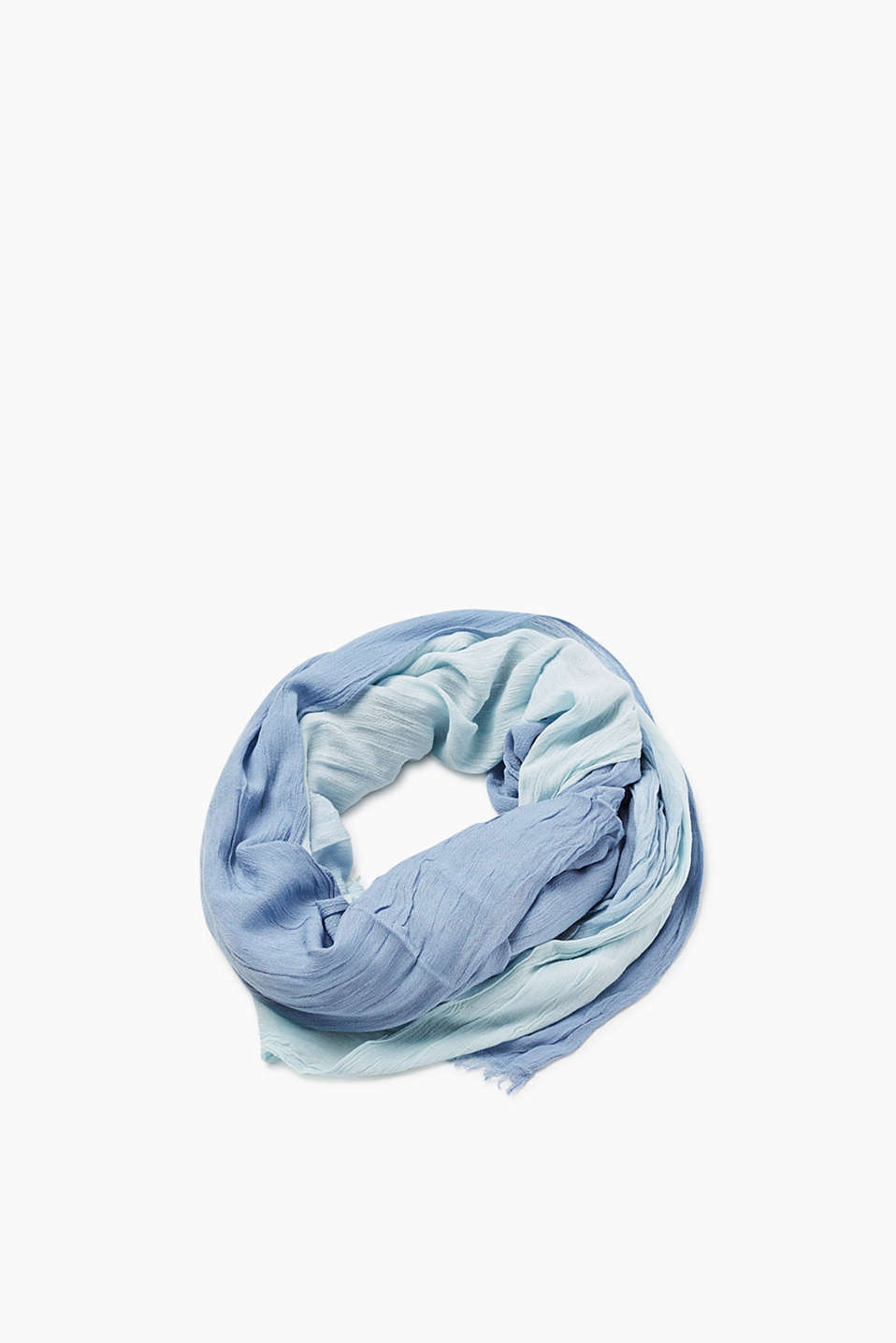 Lightweight crinkle scarf with summery graduated colour, 60 x 195 cm