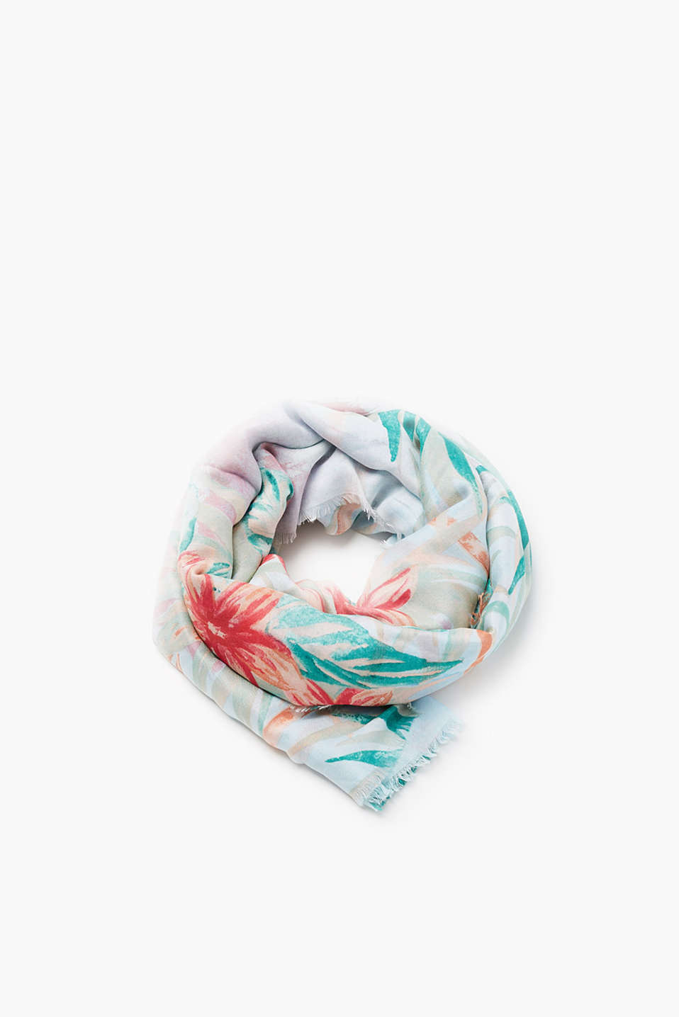 Scarf with fine fringing and a colourful tropical print