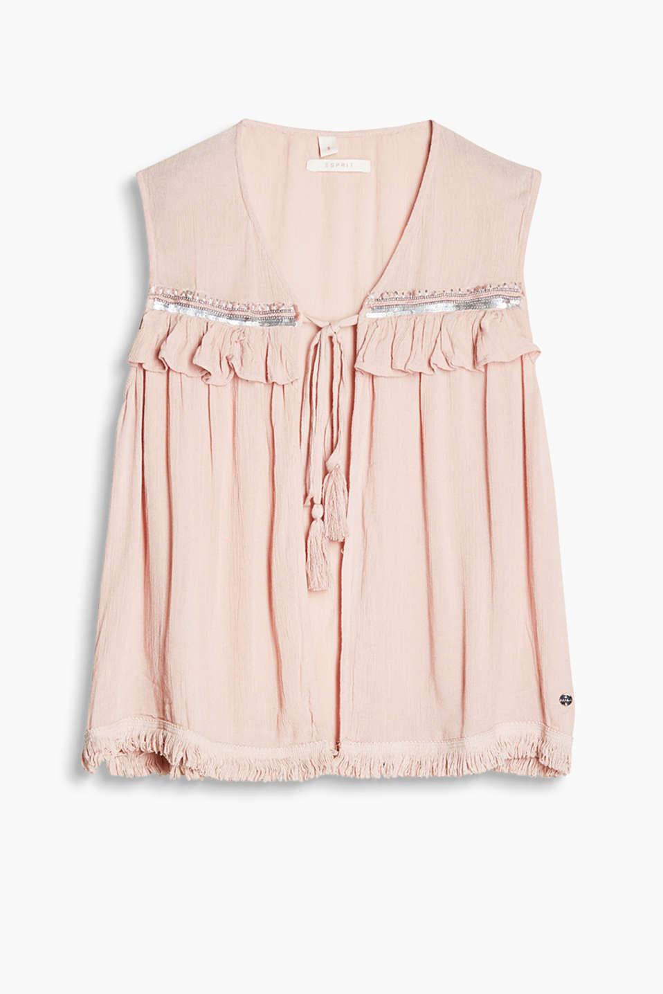 Romantic vest in light and floaty fabric with sequin embroidery, frills and a sewn-on frayed hem
