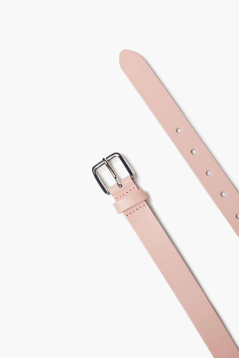 Narrow genuine leather belt in a summery colour