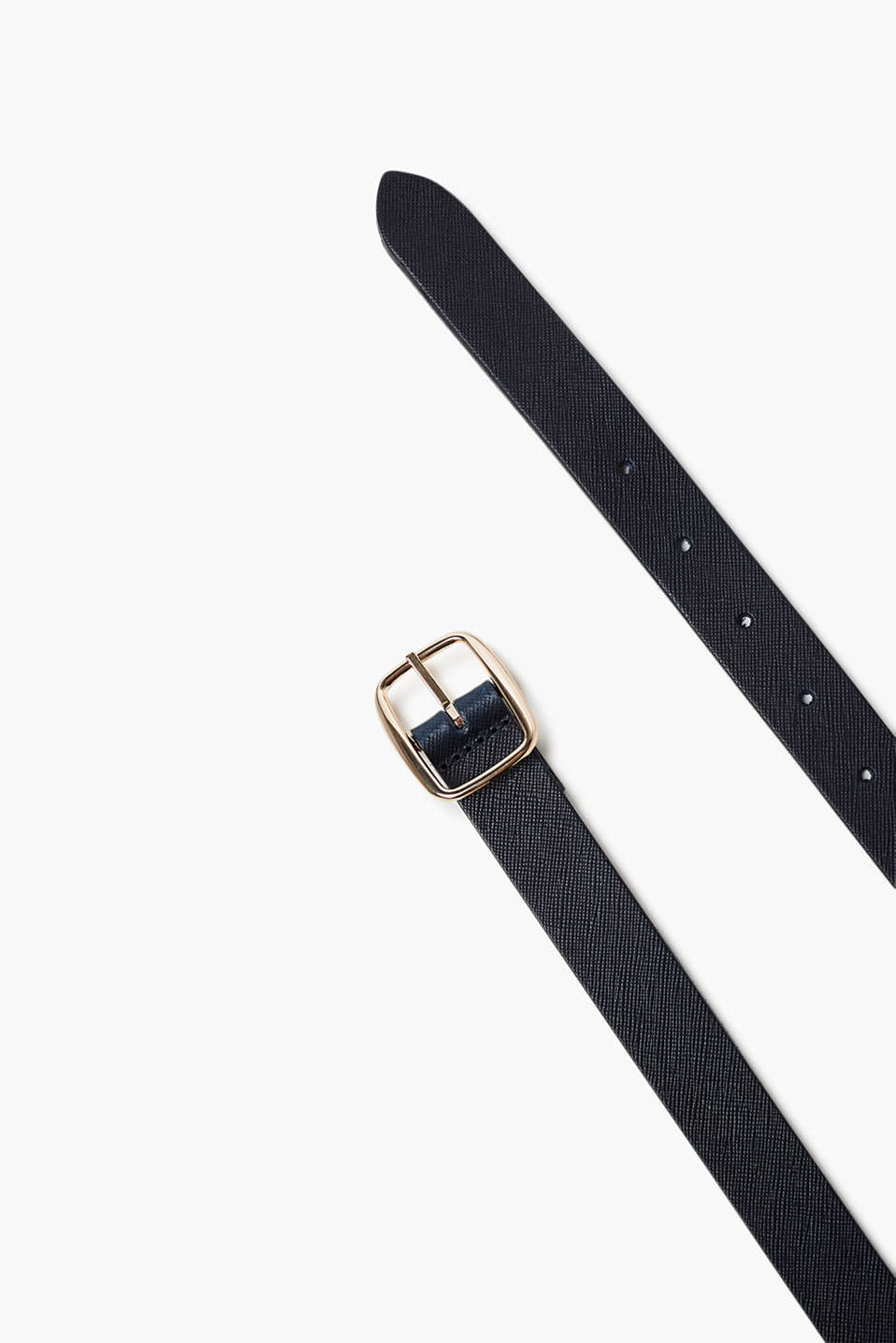 Belt in robust cowhide with a narrow, highly polished metal buckle