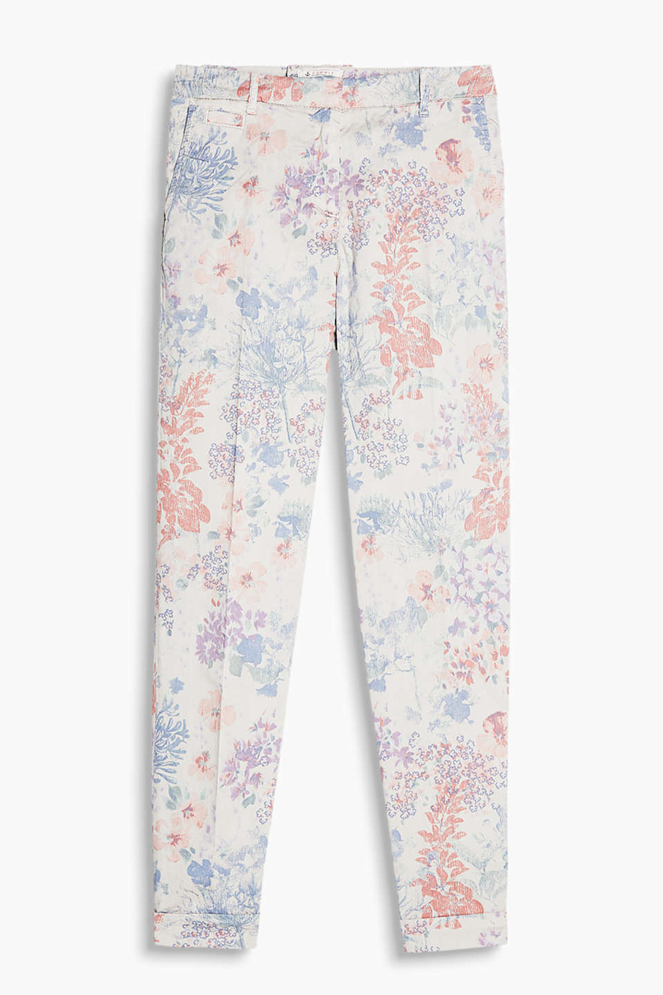 With a delicate floral pattern: Ankle-length, 4-way stretch trousers with a slimming effect