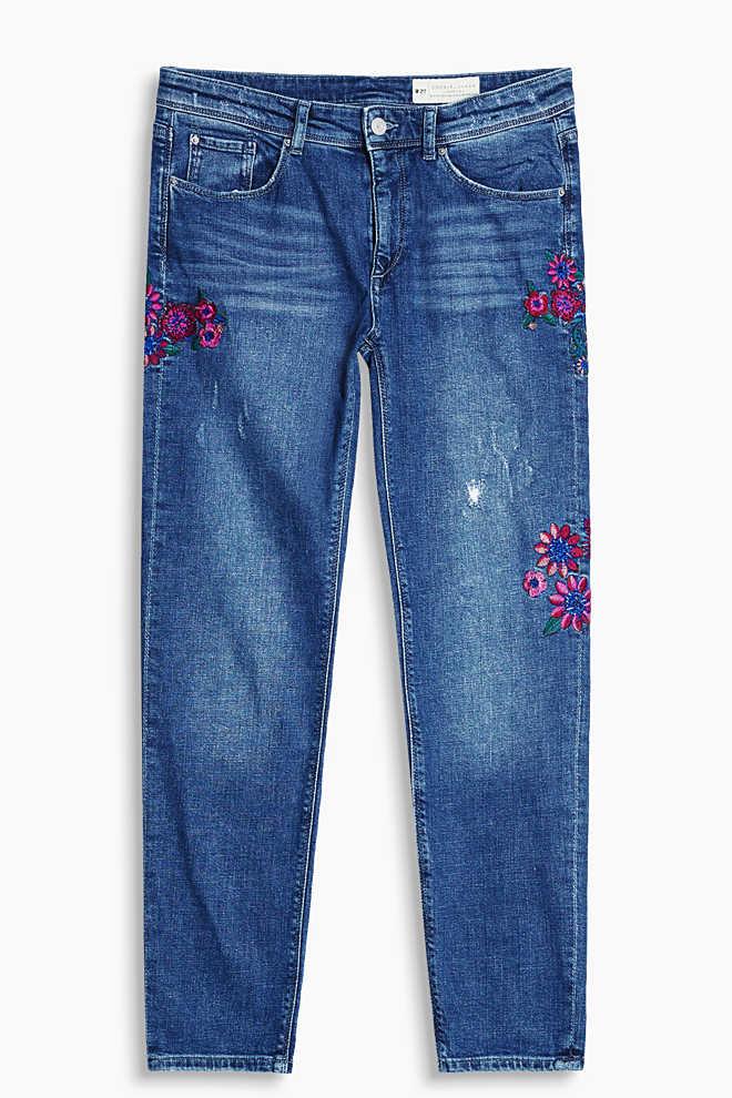 Bestickte Girlfriend Jeans von Esprit
