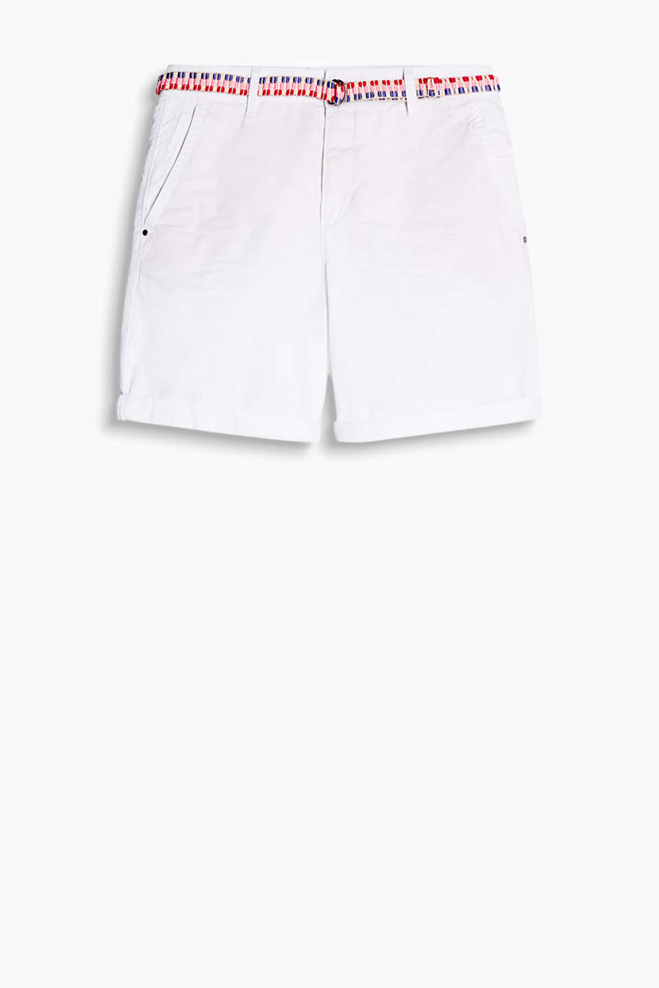 Lightweight cotton short with a bright woven belt