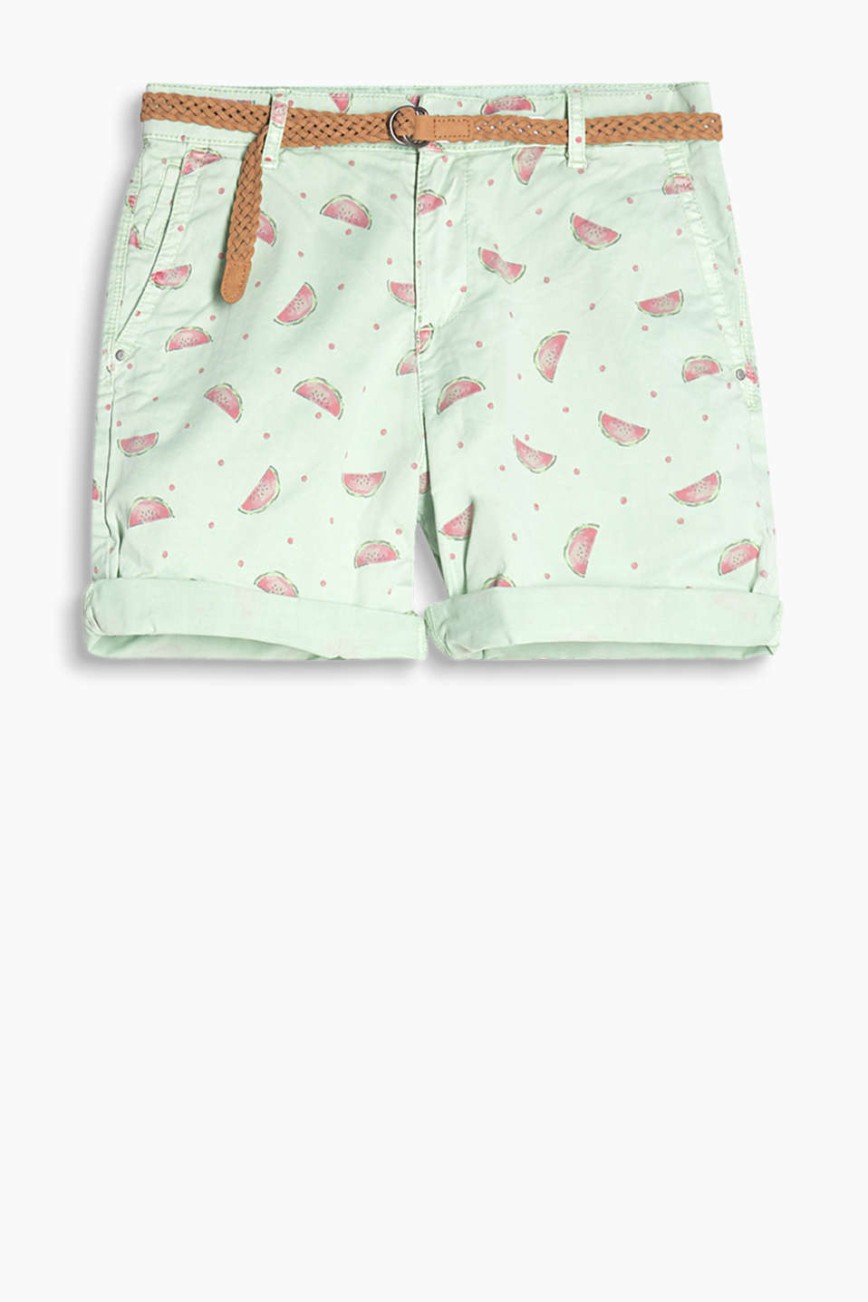 Shorts with a summery print and a braided belt, stretch cotton