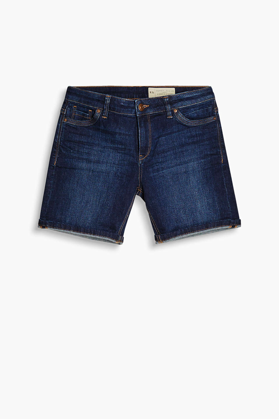 Lightweight stretch denim shorts with adjustable roll-up hems