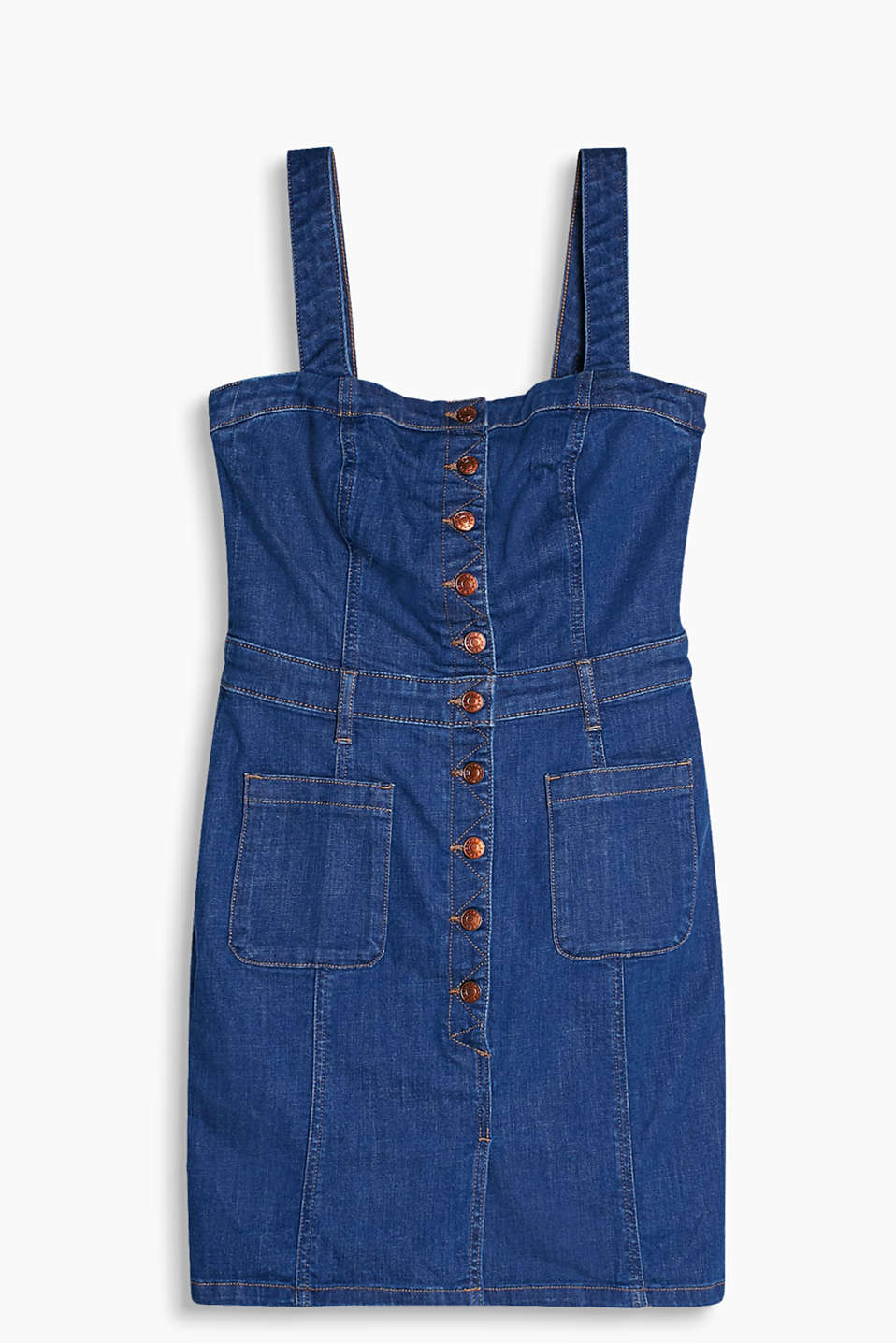 Fitted strap dress made of stretch denim with a button placket and patch pockets on the front