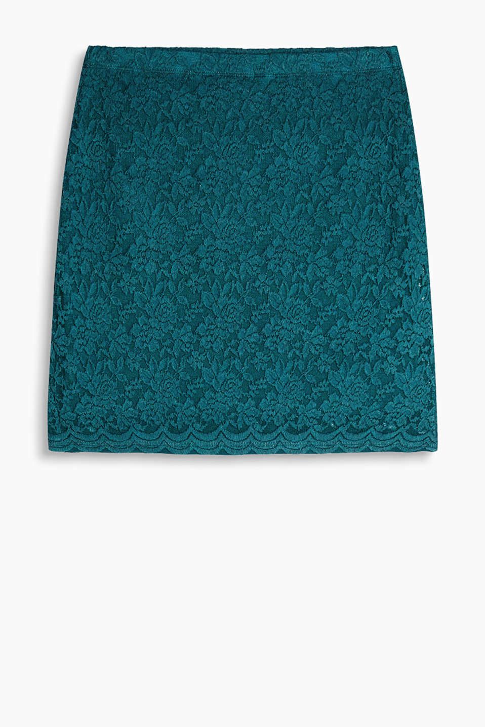 Lined mini skirt in fine lace with a comfortable elasticated waistband