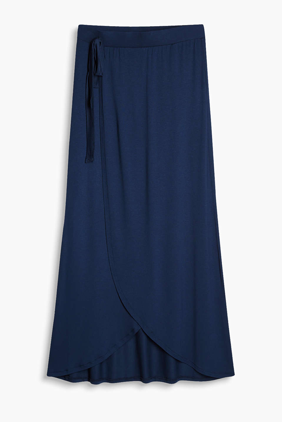 Flowing stretch jersey skirt with a fixed wrap-over effect