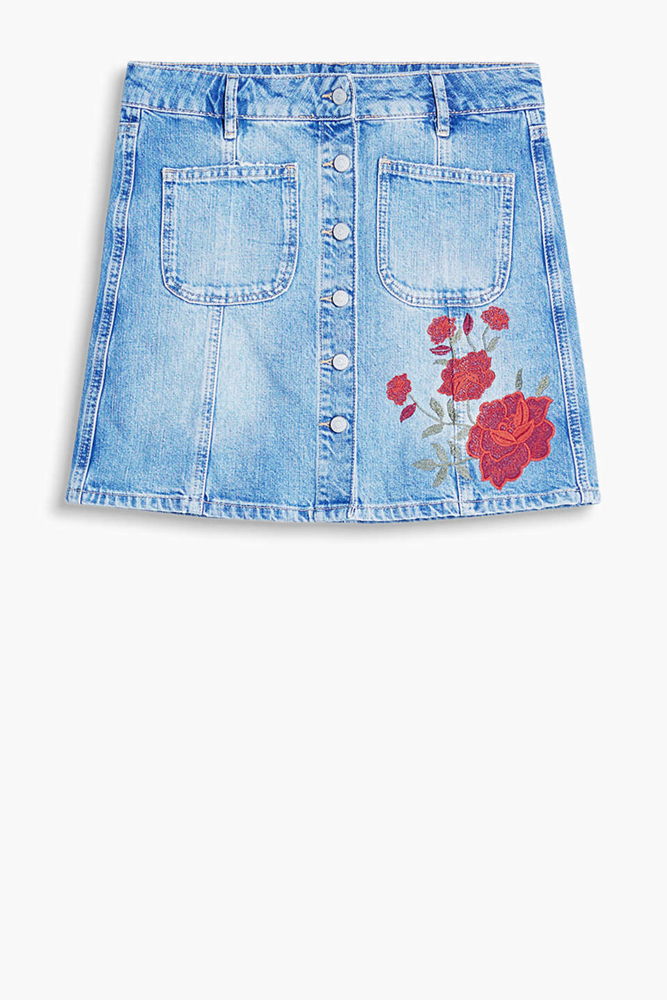 Cotton denim mini skirt with a floral appliqué and central button placket