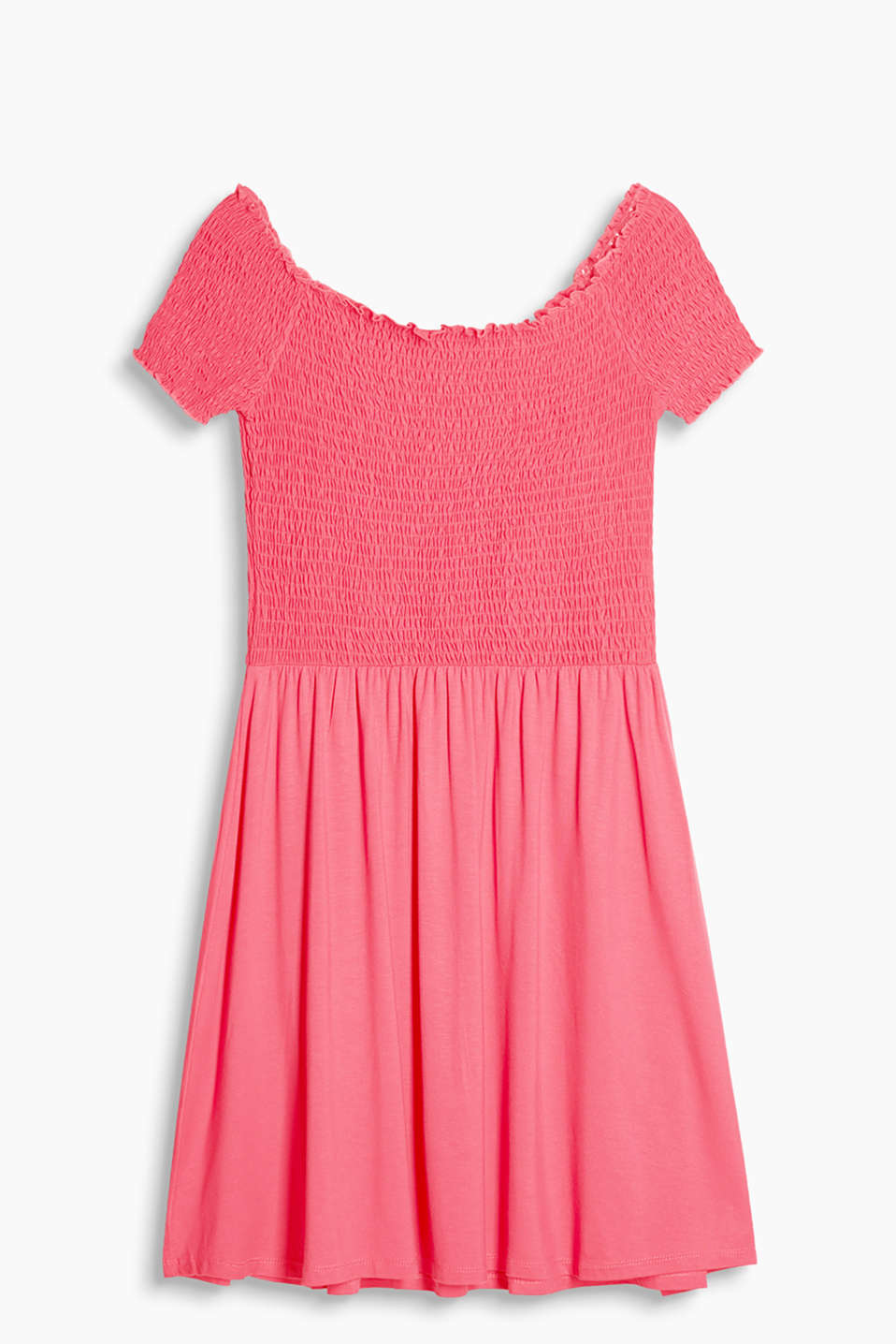 Flowing jersey dress with a smocked top section in a Carmen style