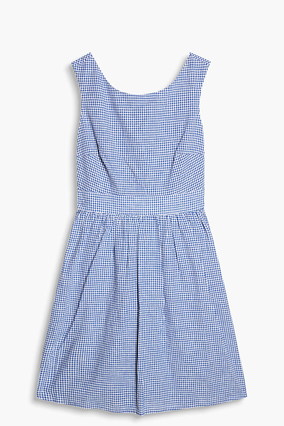Airy dress with fine gingham checks and a bow at the back, blended linen