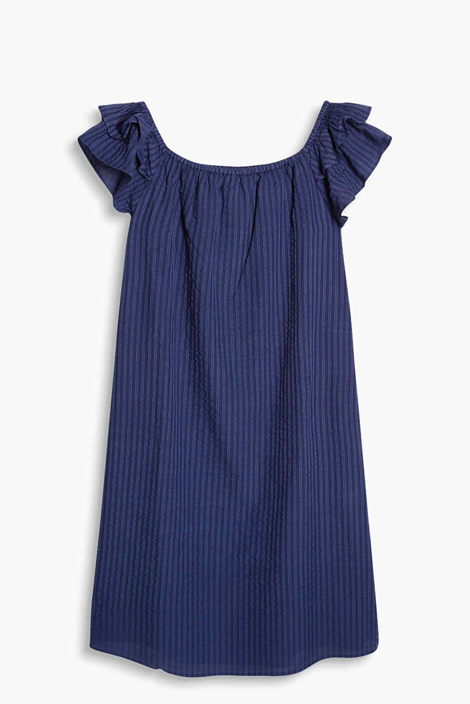 Off-the-shoulder dress in airy voile with flounce sleeves