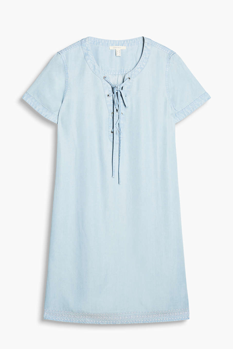 Flowing dress in a summery denim look with a laced neckline and an embroidered hem