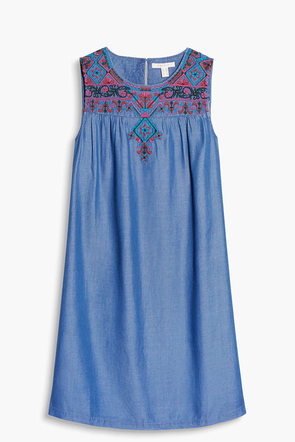 Straight, figure-skimming dress in flowing denim with tribal embroidery