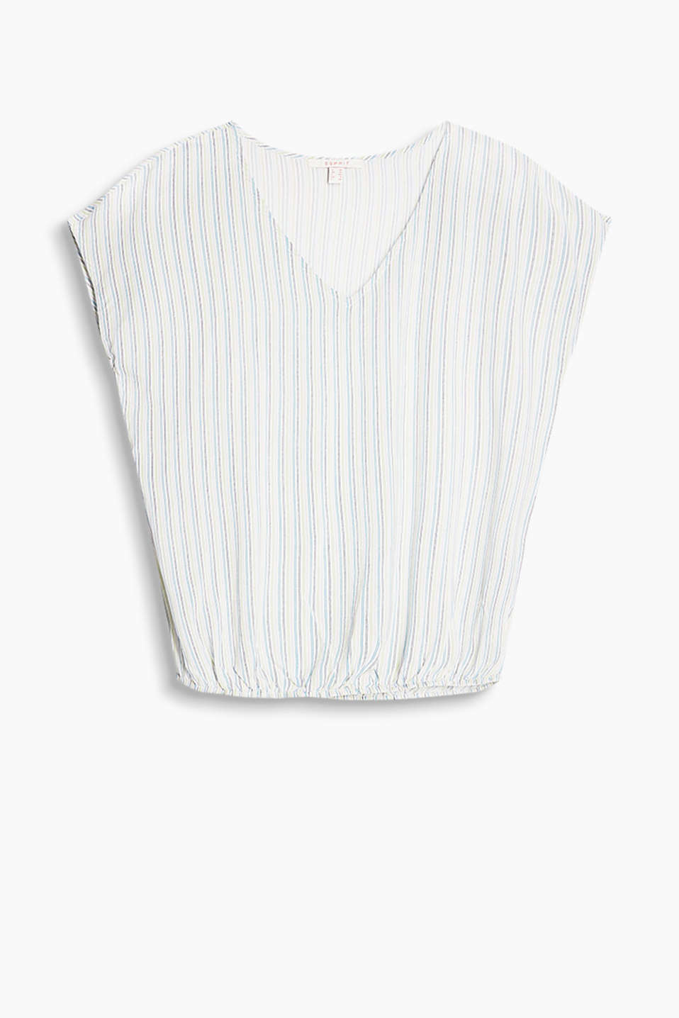 Blouse top in a colourful striped look with an elasticated hem and a V-neckline