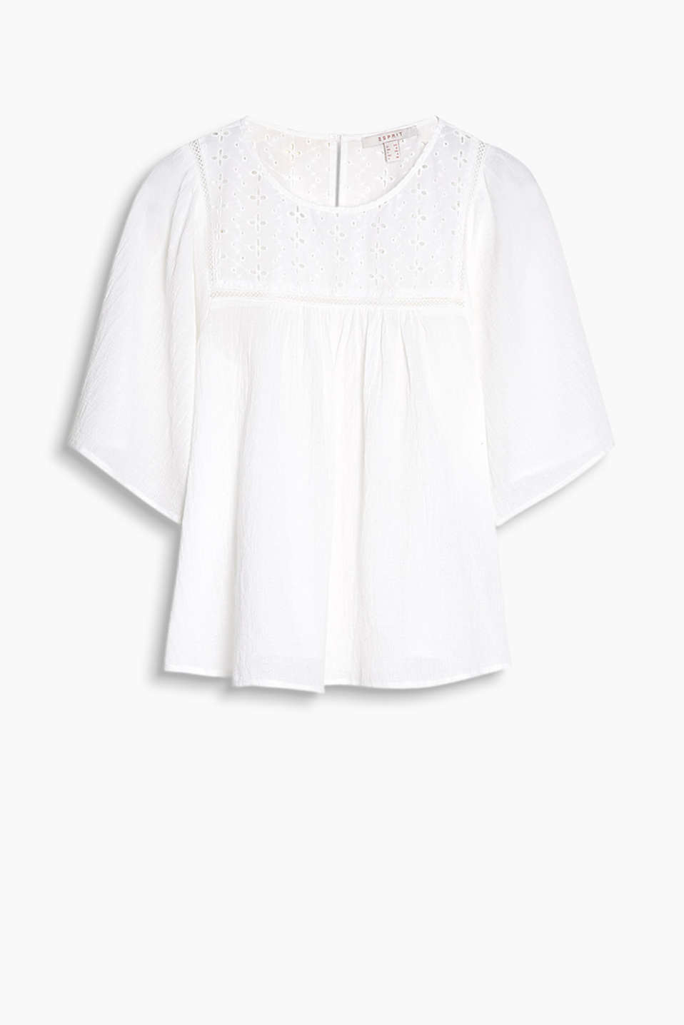 Delicate tunic in textured fabric with airy broderie anglaise and wide sleeves, 100% cotton
