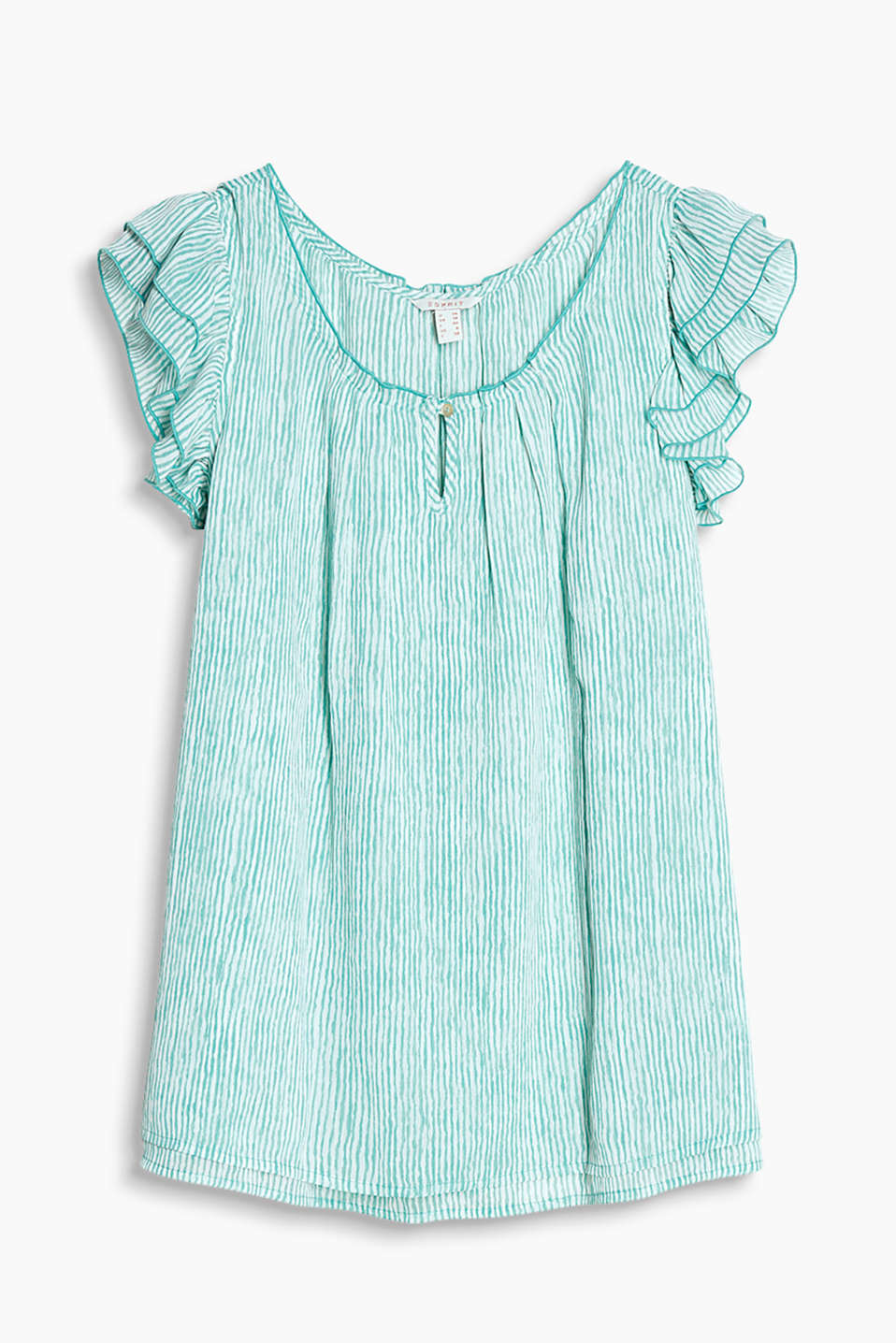 Dainty chiffon blouse with an uneven stripe pattern, Carmen neckline and frilled sleeves