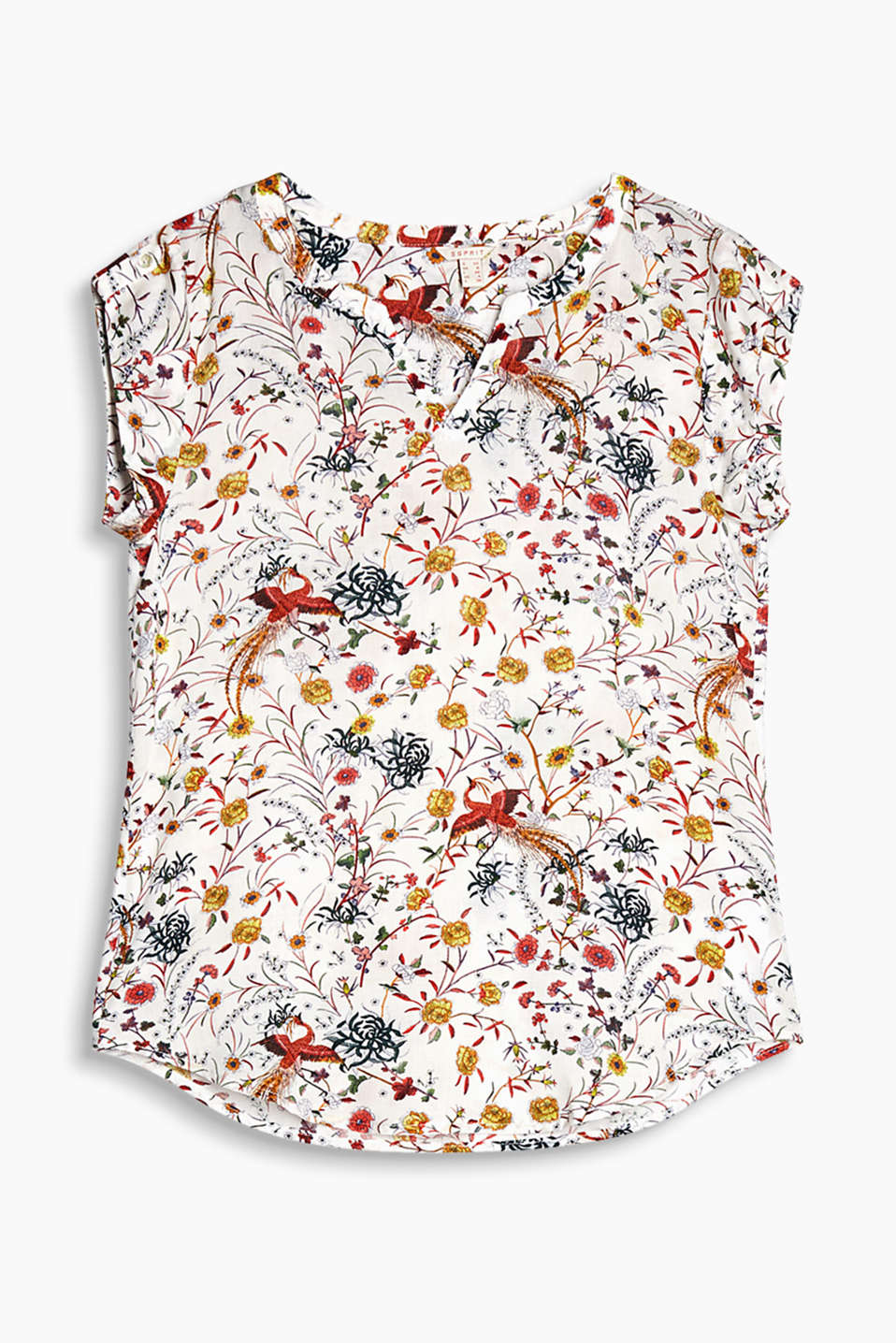 Flowing Henley blouse with a colourful floral print and button-fastening sleeve straps