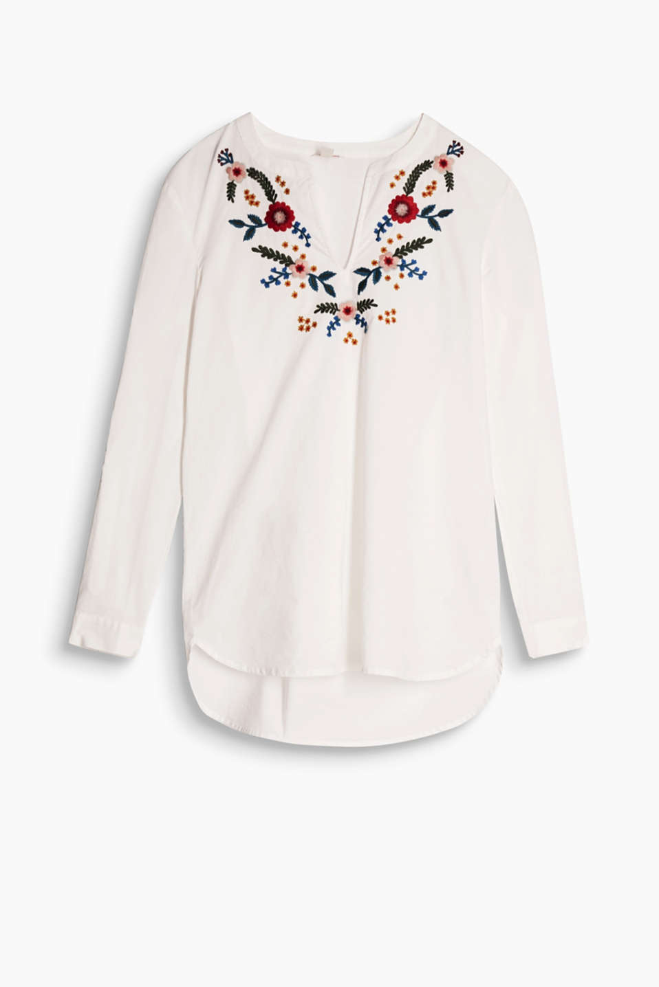 With floral embroidery and flexible sleeve length: tunic blouse in cotton voile