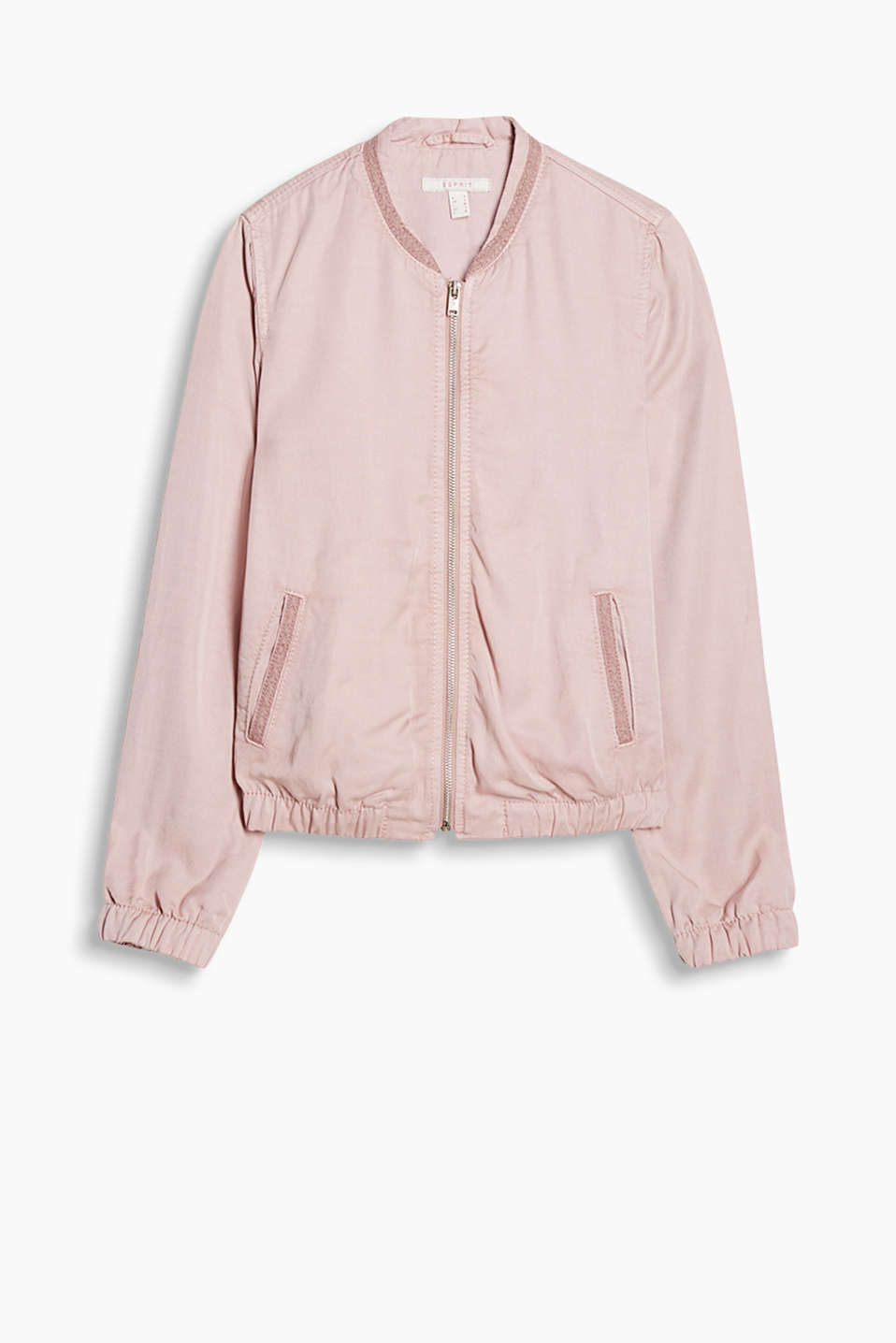 Flowing bomber jacket with a lace trim on the collar and pockets