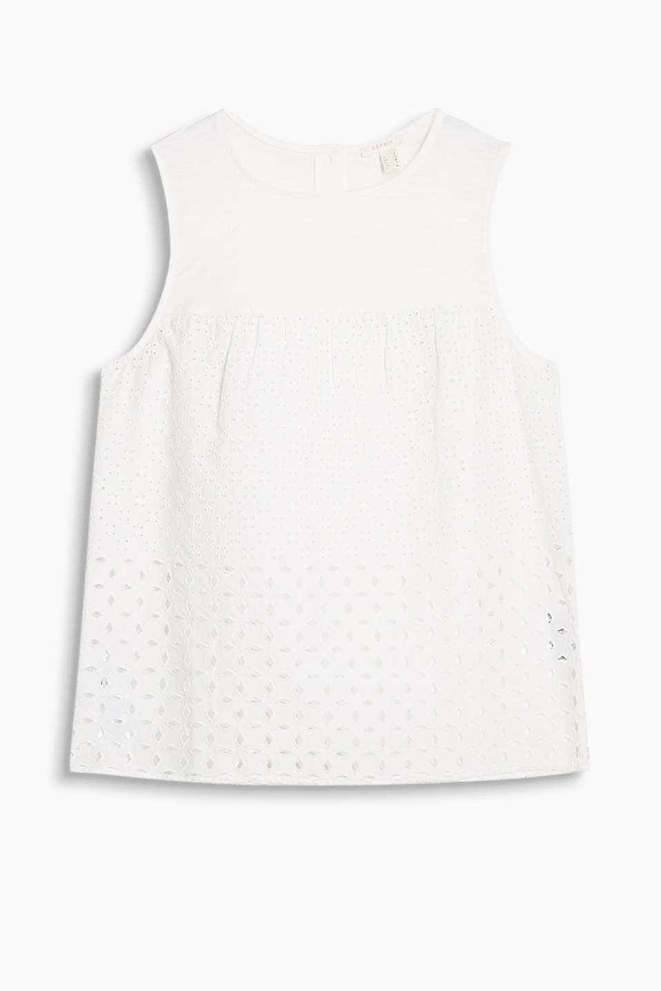Slightly flared blouse top in a mix of materials with airy broderie anglaise, 100% cotton