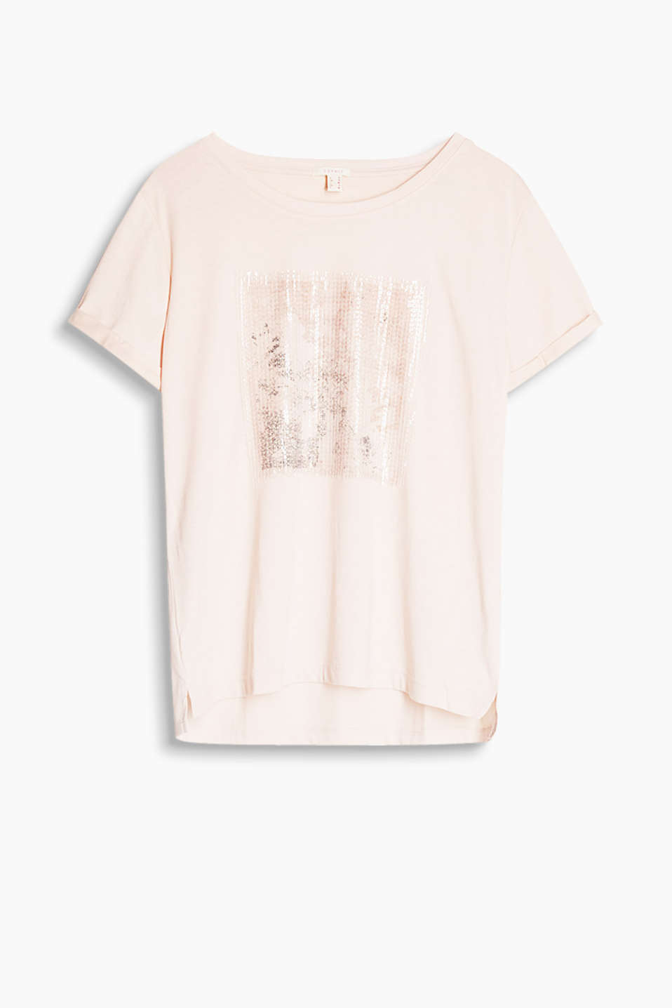 Soft slub jersey T-shirt with a partially shiny print and subtle sequin embellishment