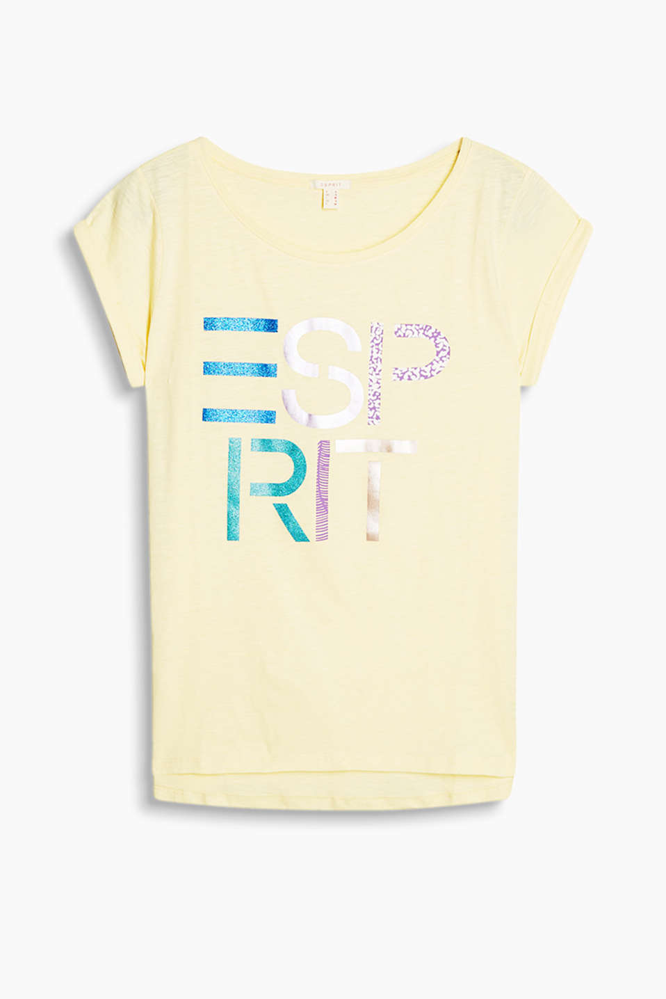 Slub jersey T-shirt with a logo print, a deep round neckline and a rounded high-low hem