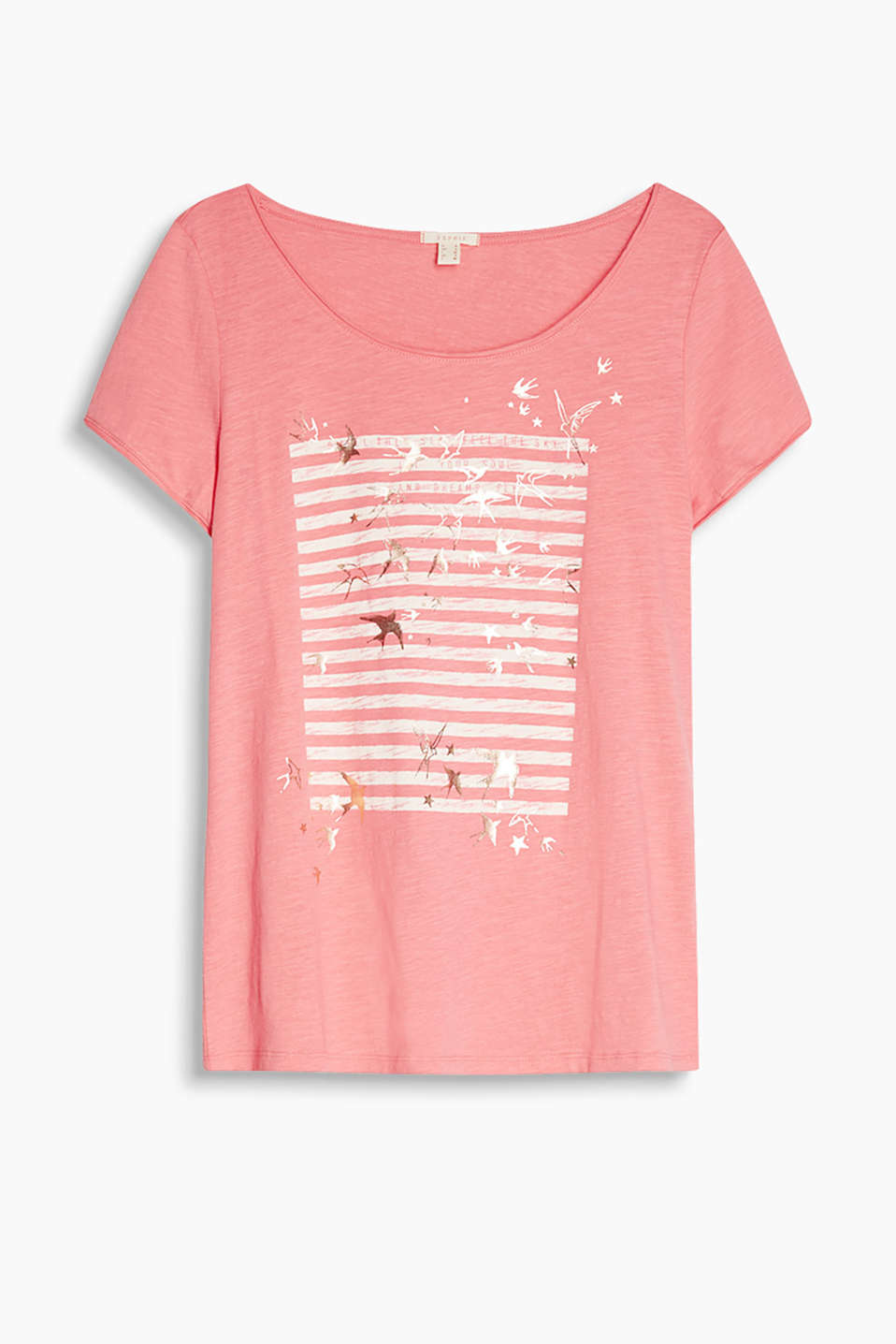 Airy slub jersey T-shirt with a decorative flag print