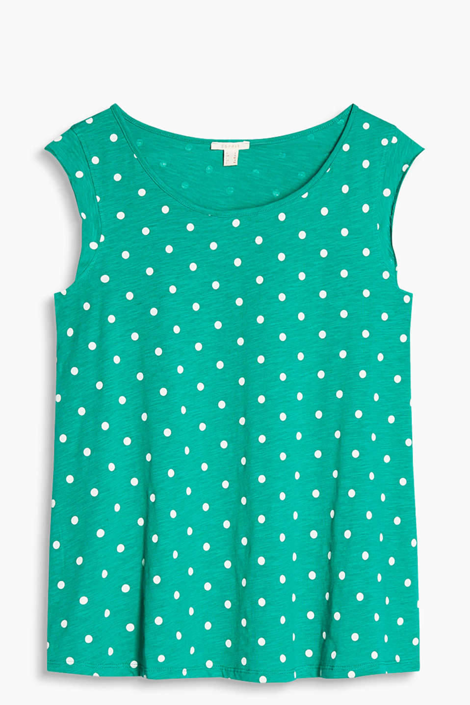 Floaty slub jersey T-shirt in a fashionable A-line design with polka dots, short cap sleeves, 100% cotton