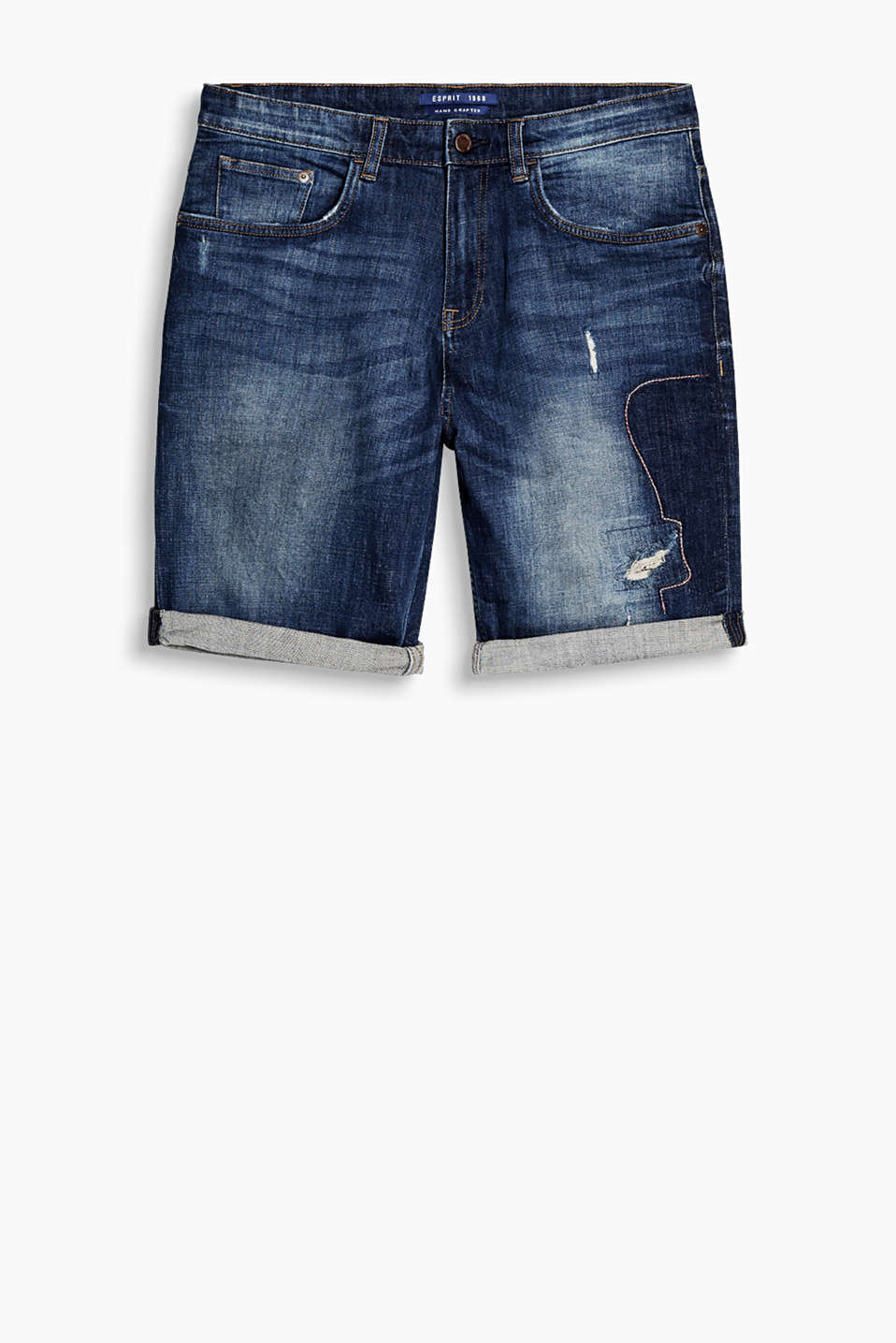 Stretch denim shorts in an urban wash with a distressed finish