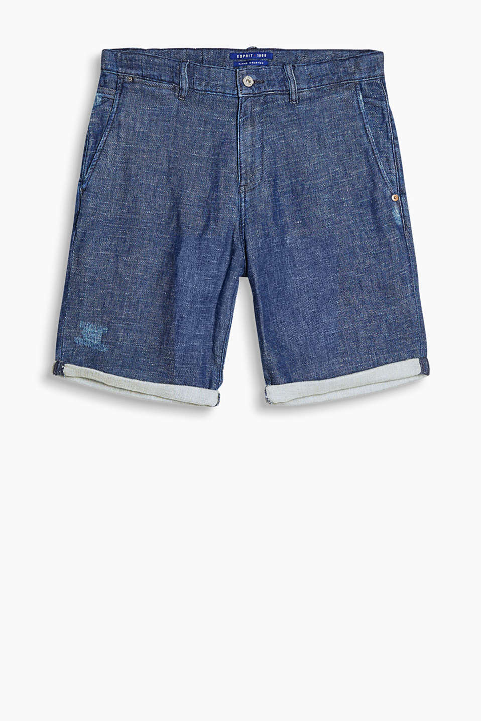 Denim shorts in a loose cut in a cool wash, with distressed effects