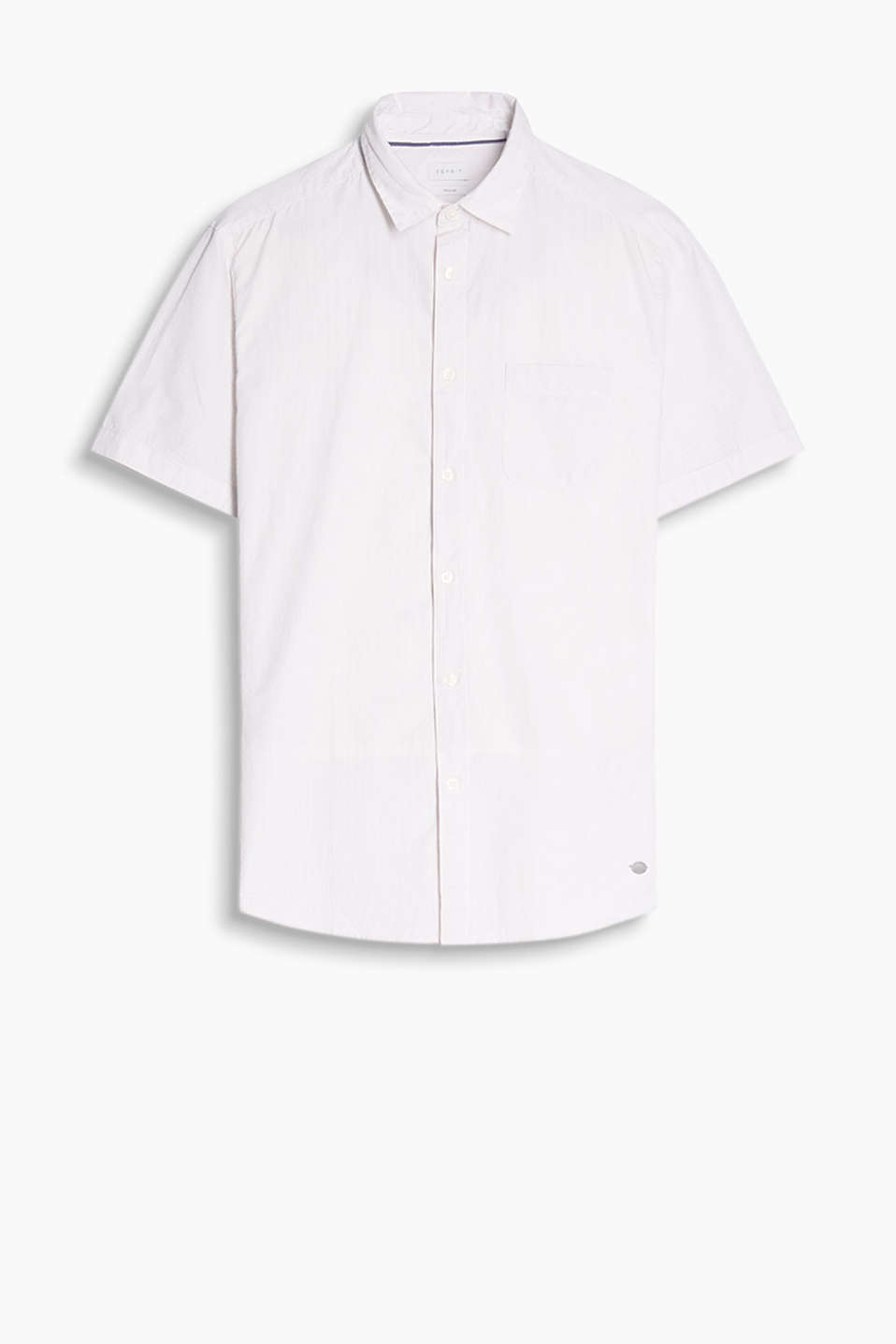 Short-sleeve shirt with fine interwoven stripes or a distinctive glencheck pattern, 100% cotton