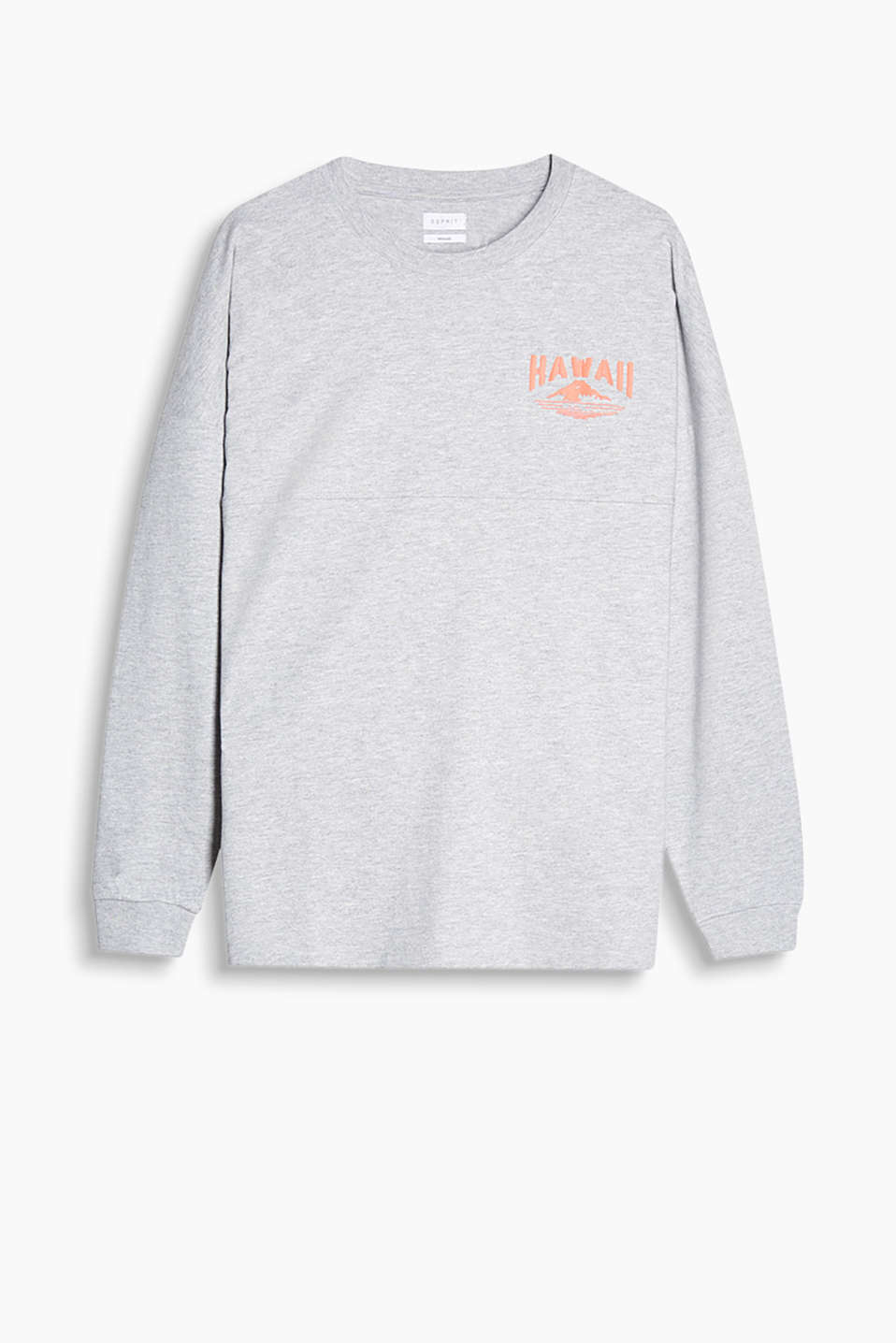 100% cotton, long sleeve top with dropped shoulders and a textured print