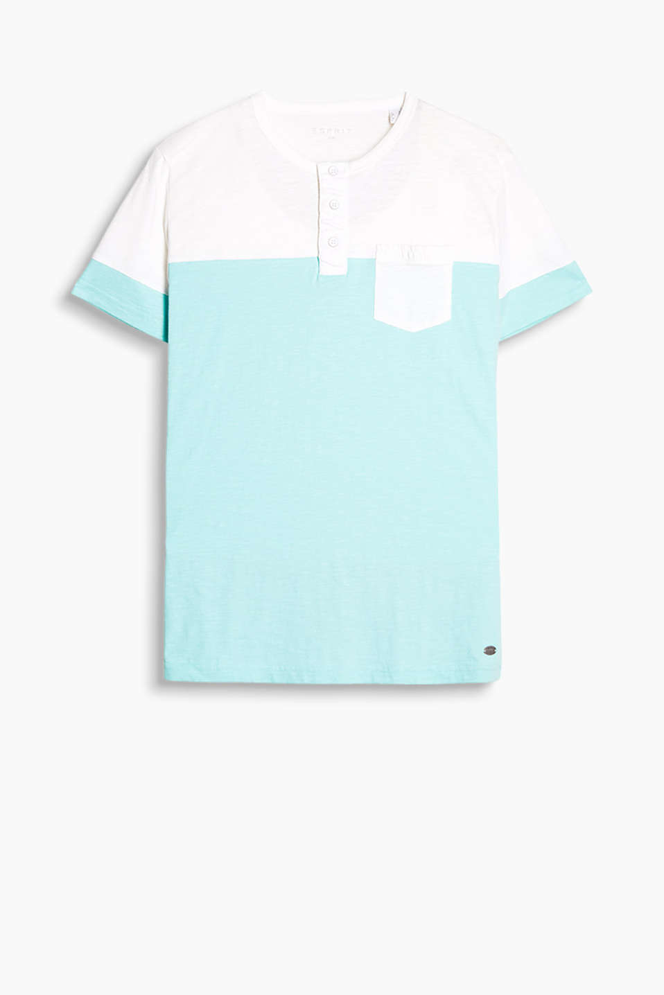 100% cotton, Henley-style T-shirt with a breast pocket