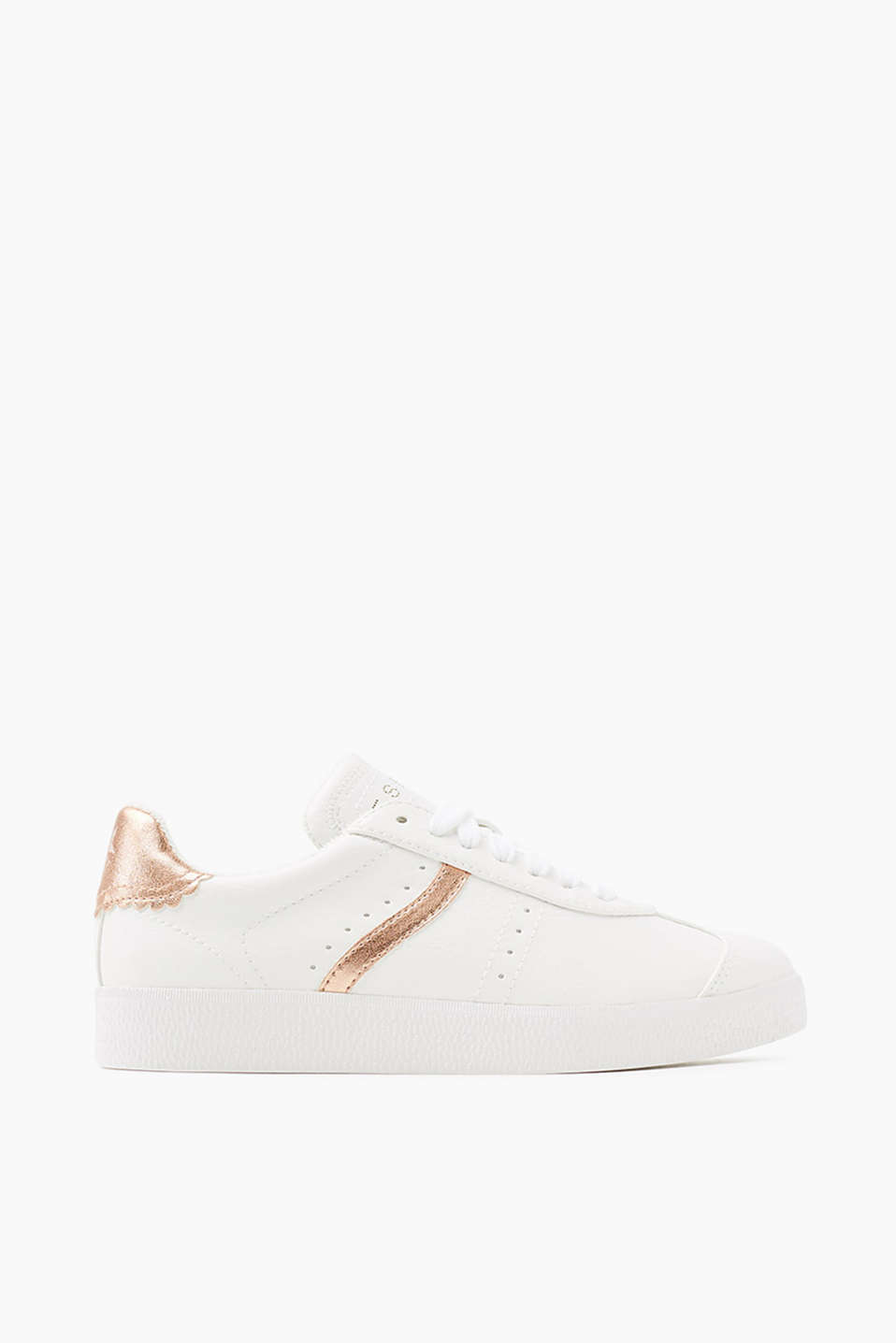 With a distinctive rubber outsole: lace-up trainers with rose gold details in faux leather